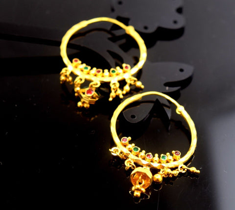 22k Solid Gold ELEGANT Large HOOP EARRINGS MODERN DESIGN E780