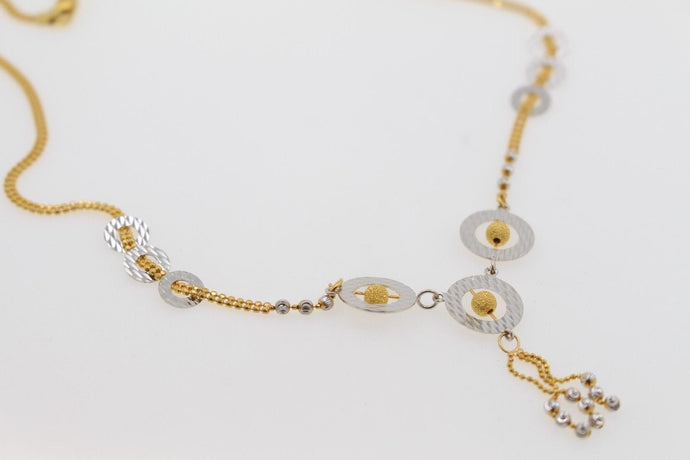 22k 22ct Solid Gold Simple Light Chain Set Two Tone Round Modern Design cs106