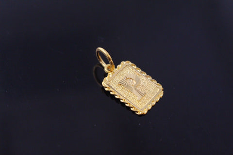 "22k 22ct Solid Gold ""P"" letter Rectangular Charm Pendant p80"