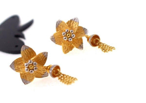 22k 22ct Solid Gold ELEGANT EARRINGS RHODIUM FLOWER HANGING Design E5080