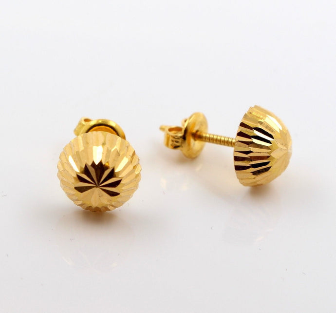 22k Jewelry Solid Gold ELEGANT ROUND SPHERE Earrings STUDS e5653