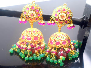 22k Gold Jewelry Solid LONG EARRINGS DANGLING Chandeliers Ruby Emerald E1146