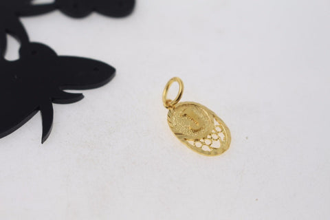 "22k 22ct Solid Gold ""J"" letter Round Charm Pendant p799"