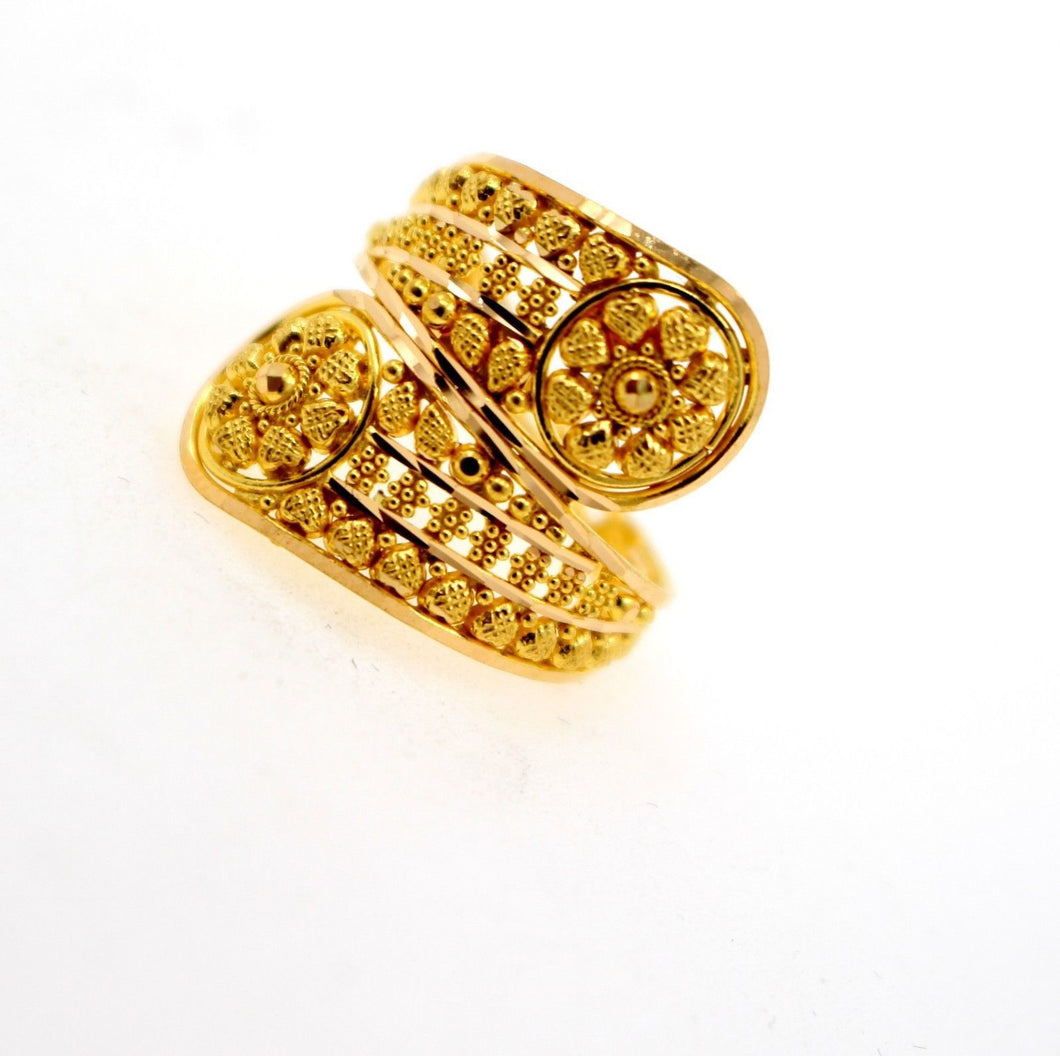 22k 22ct Solid Gold DIAMOND CUT ANTIQUE LADIES RING SIZE 7' RESIZABLE