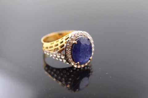 "22k Jewelry Solid Gold ELEGANT Blue Sapphire Ring Size 8.5 ""RESIZABLE"" R1013 