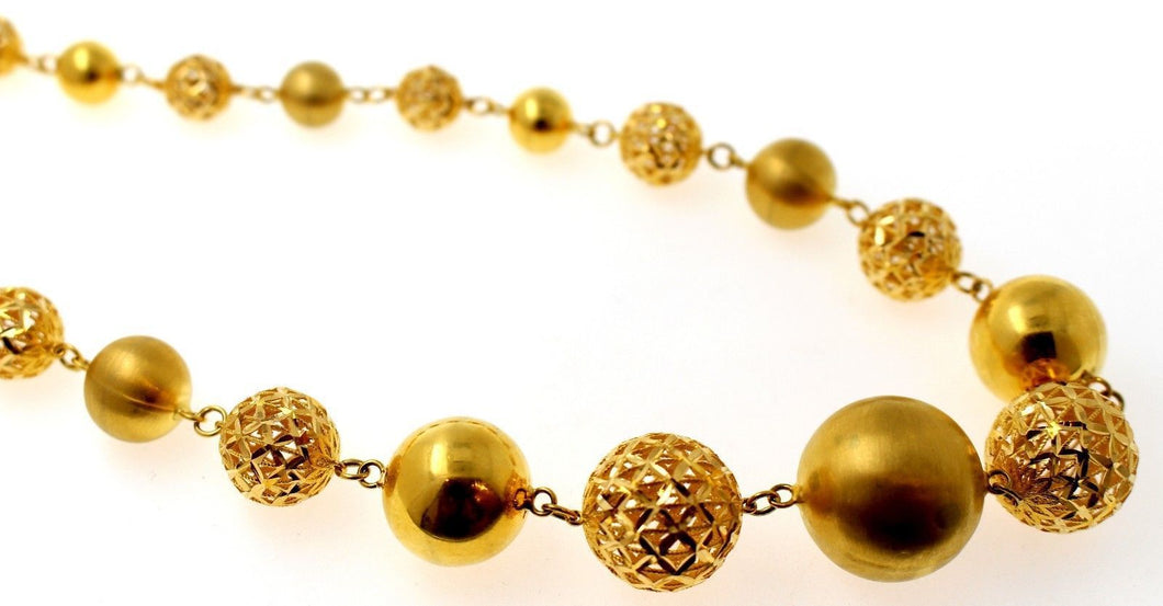21k 21Ct Yellow Gold Elegant Designer Chain Italian Necklace Ball Design C862
