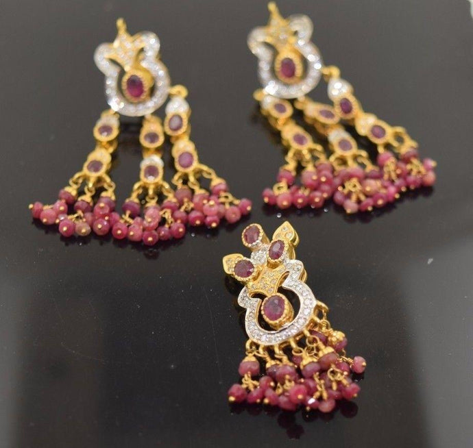 22k Solid Gold ELEGANT STONE RUBY Pendant Set EARRINGS Large S54