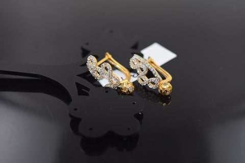 22k Jewelry Solid Gold ELEGANT CLIP-ON EARRINGS Unique Stone Design E1001 | Royal Dubai Jewellers