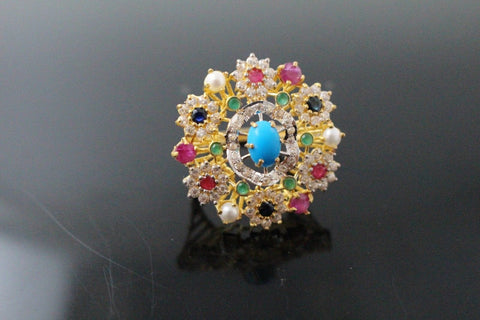 "22k 22ct Solid Gold ELEGANT Antique Ladies Stone Ring SIZE 7.0 ""RESIZABLE"" r1527"