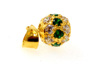 22k 22ct Solid Gold Elegant Modern Design Round Shape Emerald Pendant p1278 | Royal Dubai Jewellers