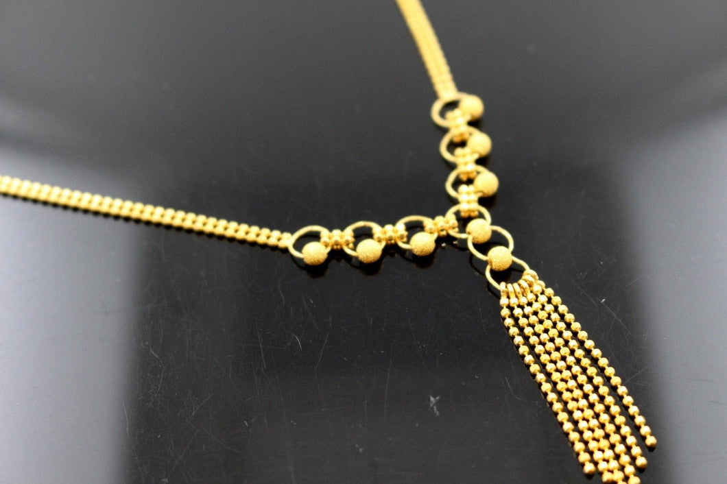 22k 22ct Solid Gold Simple Light Chain Set Modern Ball Design cs115