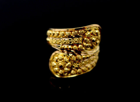 "22k 22ct Solid Gold DIAMOND CUT ANTIQUE LADIES RING SIZE 7' RESIZABLE"" R1612"