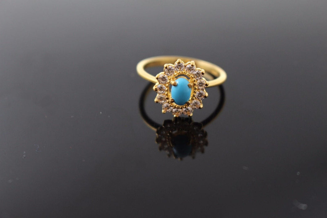 22k 22ct Solid Gold ELEGANT Ladies Stone Ring SIZE 6.5 RESIZABLE