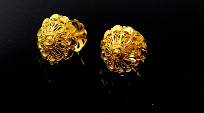 22k 22ct Solid Gold ELEGANT Round Floral STUD EARRING e5782 | Royal Dubai Jewellers