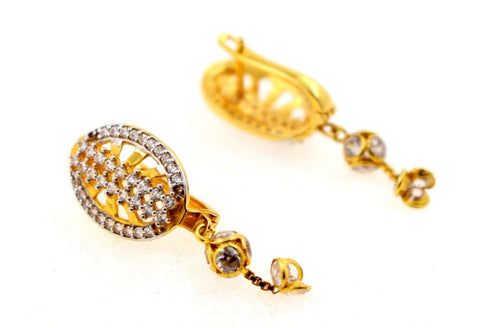 22k 22ct Solid Gold ELEGANT Charm Earring Clip-On Floral Design with stone e5231