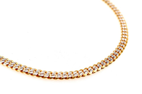 22k 22ct Yellow Solid Gold ELEGANT THICK CURB LINK HEAVY TWO TONE Chain c941