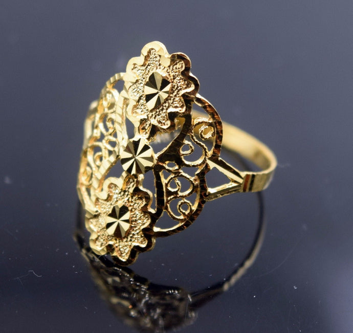 22k Solid Gold ELEGANT Ring Flowery Design Classic Style