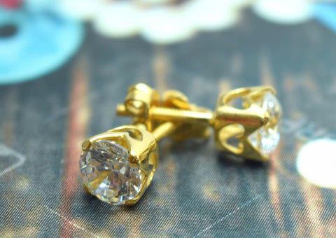 22k Solid Gold ELEGANT SOLITAIRE STONE STUD EARRINGS with BOX E216