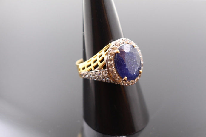 22k Jewelry Solid Gold ELEGANT Blue Sapphire Ring Size 8.5