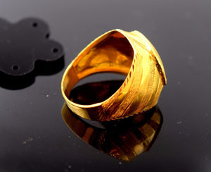 "22k Solid Gold ELEGANT MENS Ring Exquisite Design ""RESIZABLE"" mf"
