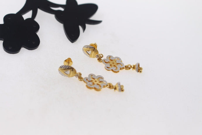 22k 22ct Solid Gold ELEGANT EARRINGS Floral Dangle Design Two Tone E5066