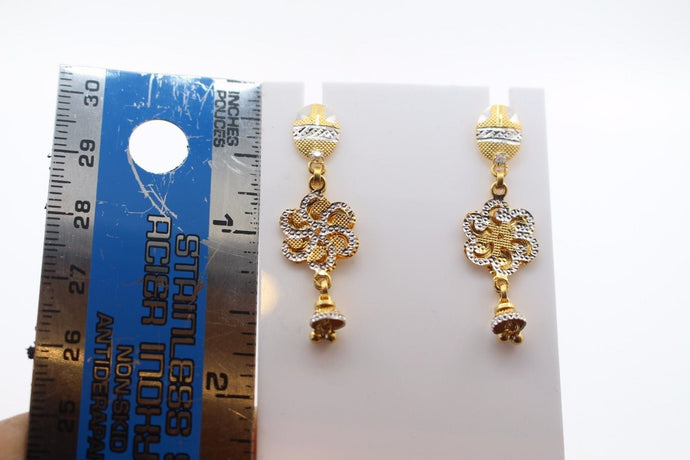 22k 22ct Solid Gold ELEGANT EARRINGS Floral Design Two Tone E5089