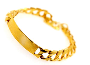 14k 14ct Solid Gold ELEGANT MEN CURB LINK DESIGNER ENGRAVED Bracelet B867