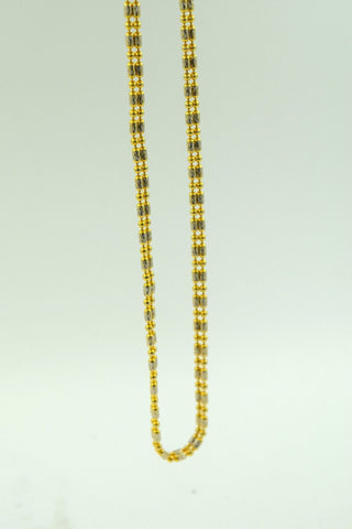22k Yellow Solid Gold Chain Rope Necklace 3mm c156 with Beads Link Design