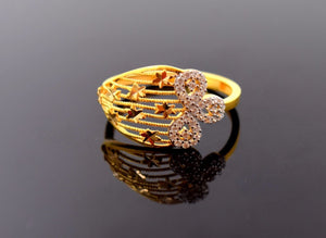"22k Jewelry Solid Gold ELEGANT STONE Ring ""RESIZABLE"" MODERN DESIGN R650"
