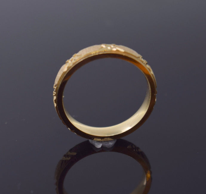 22k 22ct Solid Gold LASER CUT RHODIUM UNISEX BAND Ring SIZE 6.8