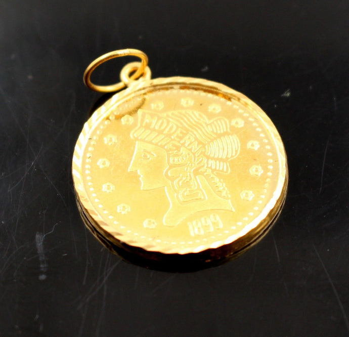 22k 22ct Solid Gold Elegant Modern Design Coin Shape Pendant p681