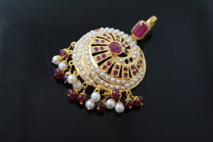22k 22ct Solid Gold ELEGANT RUBY PEARL ROUND HANGING DANGLING PENDANT P1326