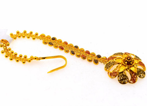 22k 22ct Yellow SOLID Gold TRADITIONAL SMALL FLOWER MANG TIKKA TIKA WOMAN T19
