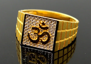 "22k 22ct Solid Gold ELEGANT Religious OM Men Ring SIZE 10 ""RESIZABLE"" R1297"