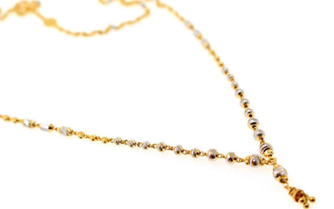 22k Yellow Solid Gold Chain Necklace Two Tone Ball Design Length 24 inch c830