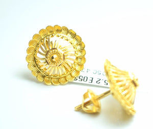 22k Solid Gold ELEGANT FLOWER ROUND EARRINGS Classic Design E053