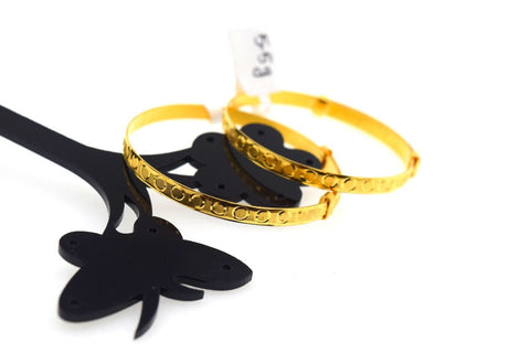 1pc Adjustable 22k Jewelry Solid Gold PLAIN BABY CHILDREN BANGLE BRACELET mf