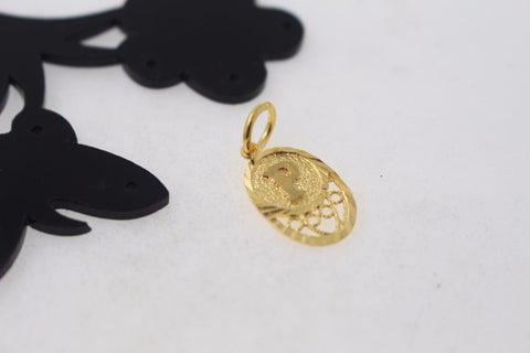 "22k 22ct Solid Gold ""P"" letter Round Charm Pendant p789"