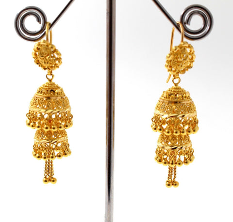 22k 22ct Jewelry Solid Gold ELEGANT LONG JHUMKE DANGLING Earring e5873
