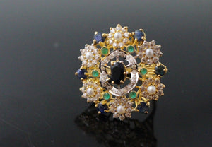 "22k 22ct Solid Gold ELEGANT Antique Ladies Stone Ring SIZE 7.5 ""RESIZABLE"" r1519"