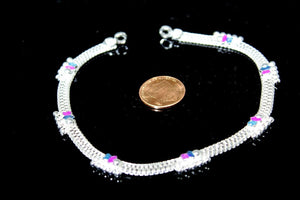2PC HANDMADE Solid Silver Payal 925 sbb115 Sterling adult ladies Anklets
