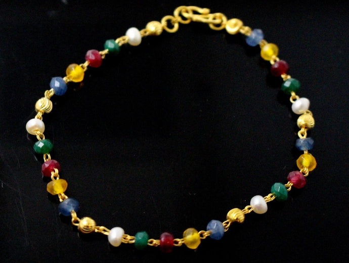 22k 22ct Solid Gold ELEGANT Bracelet MULTI COLOR Design length 7 Inch Cb1138