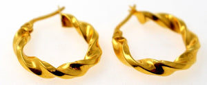 21k 21ct GOLD ELEGANT DESIGNER HOLLOW HOOP EARRINGS TWISTER DESIGN E5825