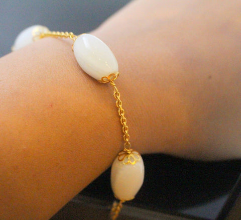 22k 22ct Solid Gold Elegant Moon Stone Ladies Bracelet b849