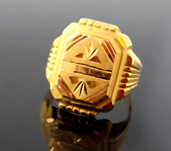 22k 22ct Solid Gold Elegant MEN Ring Rectangular Design Size 8