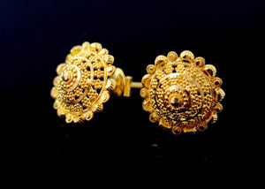 22k Jewelry Solid Gold ELEGANT STUD SCREW BACK EARRINGS Unique Design E2135 | Royal Dubai Jewellers