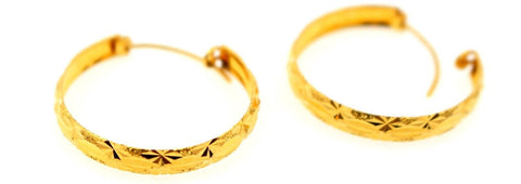 22k 22ct solid gold ELEGANT DESIGNER HOOP EARRINGS E5855