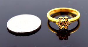 "22k 22ct Solid Gold CUTE FLOWER ELEGANT BABY KID Ring ""RESIZABLE"" size 4.2 r750 - Royal Dubai Jewellers"