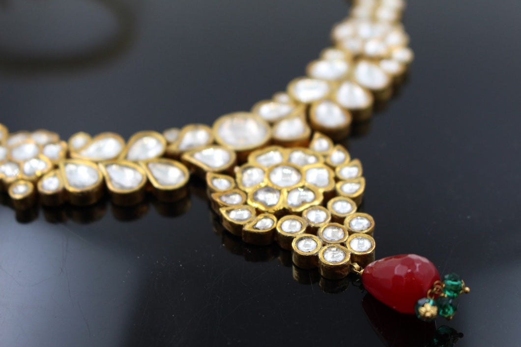 22k 22ct Solid Gold Elegant Traditional Kundan Set Necklace with STONE KS112