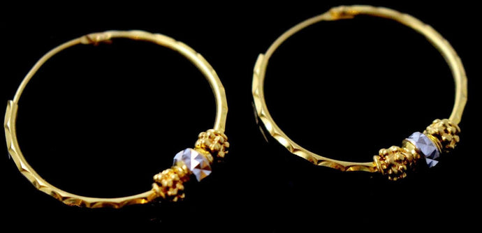 22k 22ct GOLD ELEGANT DESIGNER ROUND ROHDIUM BALI HOOP EARRINGS E5819